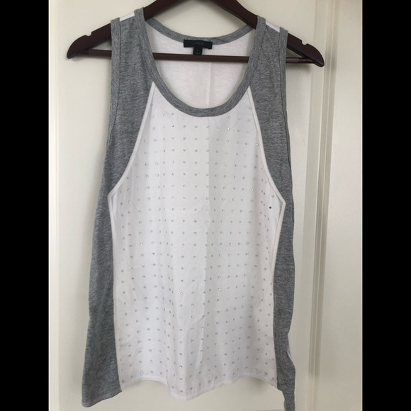 J. Crew Tops - J CREW EMBELLISHED TANK TOP WHITE AND GRAY SIZE L